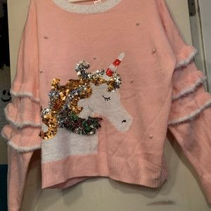 NWT Pink Unicorn Sweater Size XL